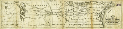 """1859 Map of the Railroad Route to the Kansas Gold Mines XL 16""""x67"""" Mining Print"""