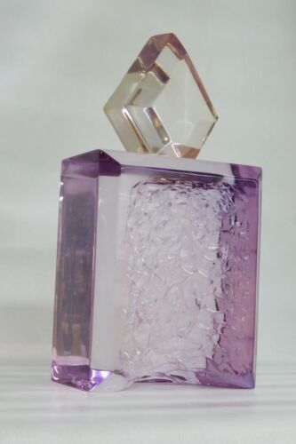 Mid Century Large Clear Purple Lucite Abstract Sculptural Bottle 2502B