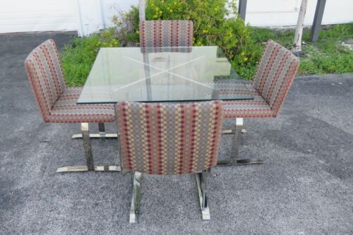 Mid Century Glass Top Dining Dinette Table with 4 Chairs by Kaplan and Fox 2263