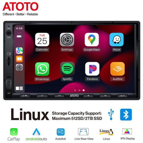 """ATOTO 7"""" Double Din In dash Car Stereo w/ Apple Carplay & Android Auto,Bluetooth"""