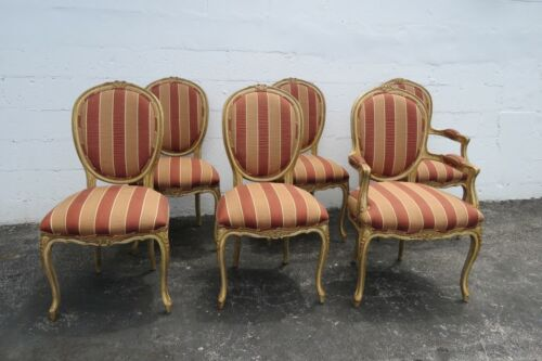 French Shabby Chic Carved Painted Distressed Set of Six Dining Chairs 2317