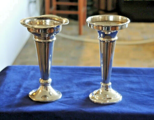 2 ANTIQUE SILVER PLATE MADE IN AUSTRALIA POSY VASES WEIGHTED BASES #3