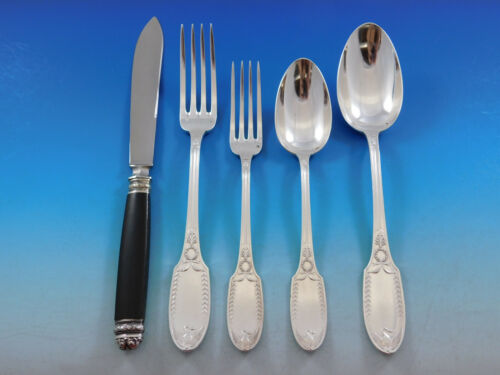 Empire by Puiforcat France Sterling Silver Flatware Set for 12 Swan 60 pc Dinner