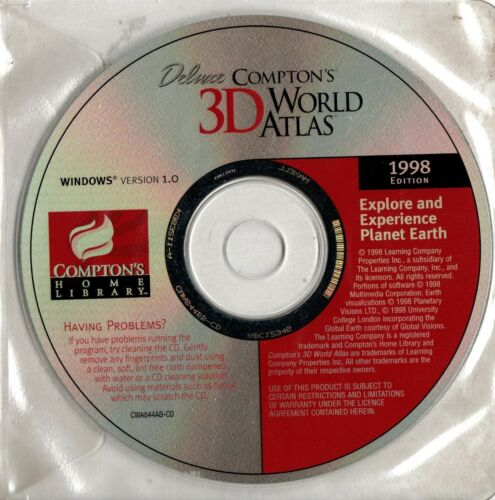 COMPTON'S DELUXE 3D WORLD ATLAS - CD-ROM -1998 -Compton's Home Library - VINTAGE