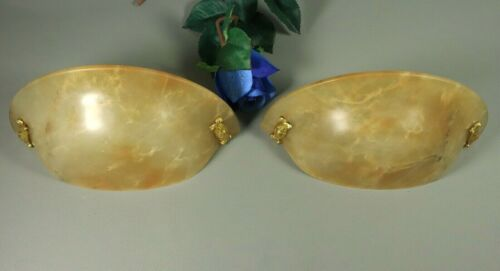 Rare PAIR French Antique ART DECO Gilt Bronze Alabaster Wall Sconce Lights Lamps