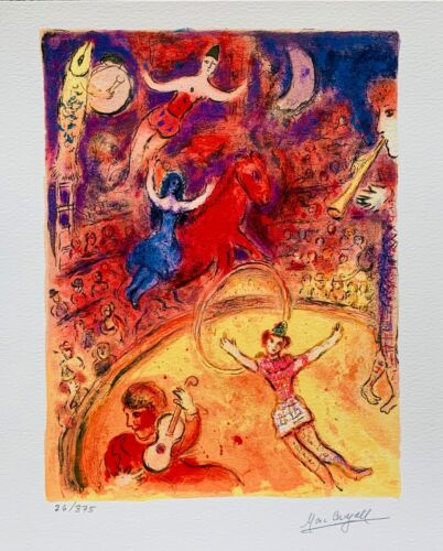 """Marc Chagall CIRCUS Limited Edition Facsimile Signed Giclee Art 12"""" x 11"""""""