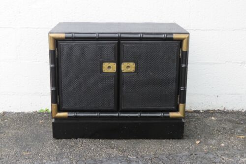 Hollywood Regency Painted Black Large Nightstand Small Cabinet 2394