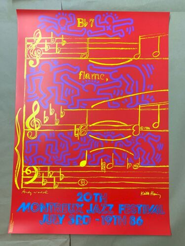 KEITH HARING ANDY WARHOL Montreux Jazz Festival 1986 Original Poster 70x100