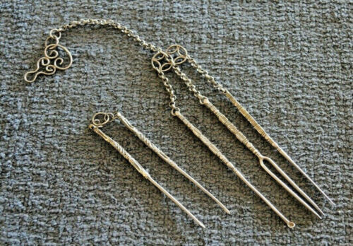 2 SETS 19TH CENTURY ANTIQUE SILVER METAL TOBACCO /SNUFF /OPIUM TOOLS CHATELAINE