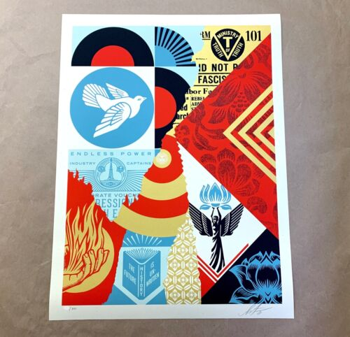 Shepard Fairey OBEY GIANT The Future is Unwritten Collage Signed Print #/300