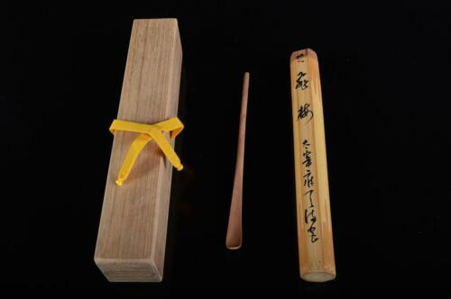 L569: Japanese Wooden Bamboo Chashaku TEA SPOON for making, auto w/signed box