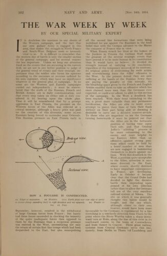 1914 WW1 Article & Photos Guerre News Constructing Fougasse~ Russe Advance