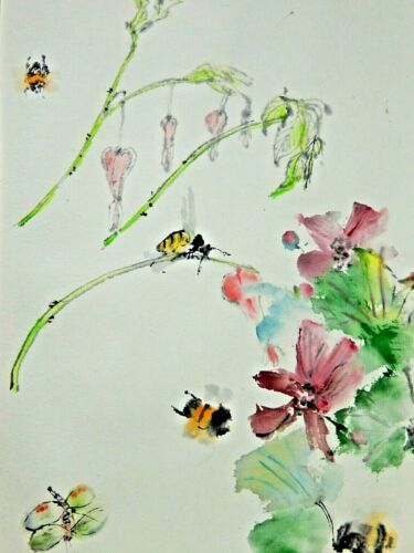 Debbi Chan Watercolor on Rice Paper Busy Bee Time  unframed