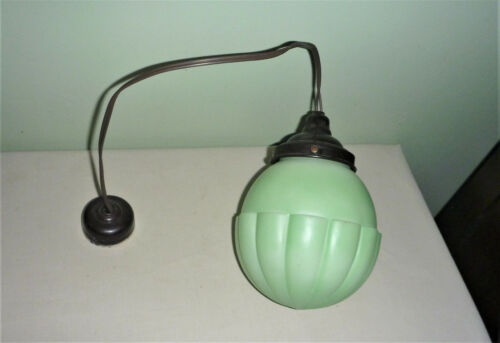 Art Deco Green Light Shade with Fittings - Suit Lamp