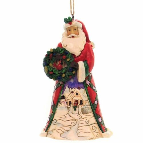 Heartwood Creek by Jim Shore Santa with Wreath and Scene Christmas Hanging Ornam