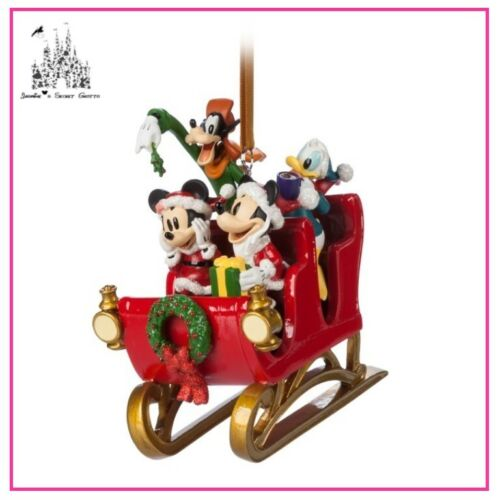 DISNEY SANTA MICKEY MOUSE AND FRIENDS IN SLEIGH FIGURAL SKETCHBOOK ORNAMENT NEW