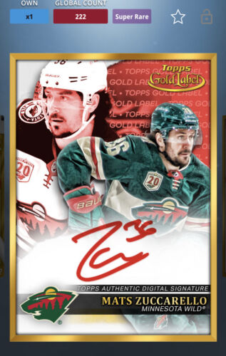 Topps NHL Skate DIGITAL Card 2022 Gold Label Red Signature Mats Zuccarello