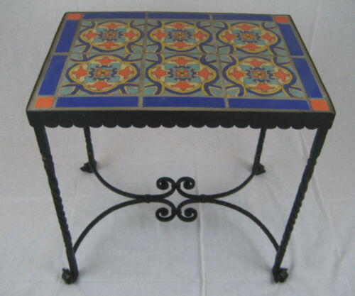 spanish revival california tile & wrought iron table
