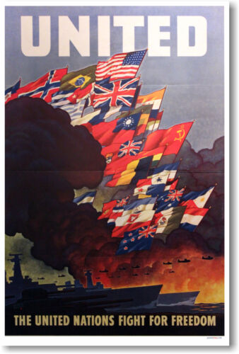 United Nations Fight for Freedom - Vintage WW2 Era Art Print POSTER