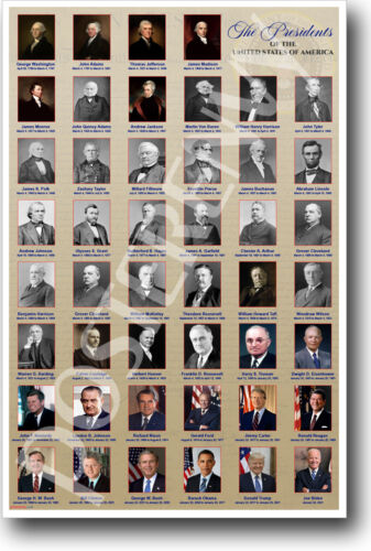 Presidents of United States of America HISTORY POSTER