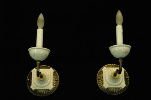 PAIR VINTAGE UNIQUE PORCELAIN CANDLEABRA WALL SCONCES