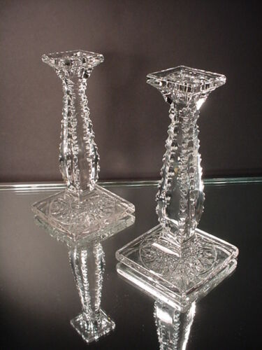 New Martinsville Crystal Pair Candlesticks No.15 EAPG