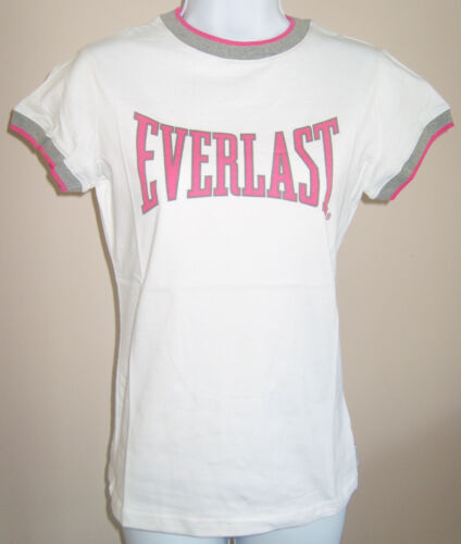 NEW LADIES WHITE EVERLAST T-SHIRT TOP SIZES 8 & 10