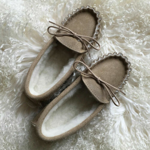 Mens Ladies Moccasin Slippers Premium Suede Wool Lined Rubber Sole UK Made