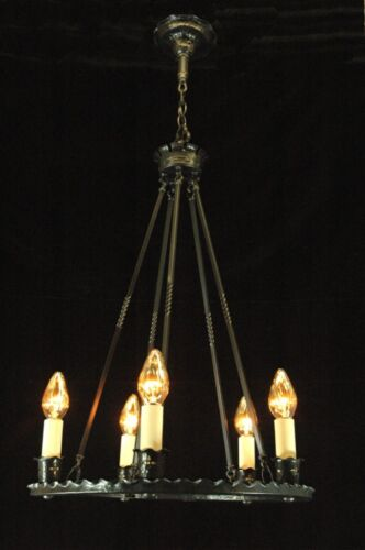 ANTIQUE GOTHIC REVIVAL 5 LIGHT BRONZE CHANDELIER