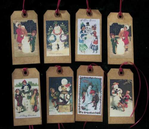 PRIMITIVE VINTAGE  SNOWMEN CHRISTMAS HANG TAGS WITH BURGUNDY RIBBON - SCENTED