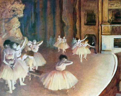 """Dress rehearsal of the ballet on the stage by Edgar Degas  20""""x26""""  Canvas Print"""