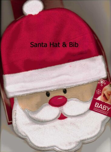 Adorable Santa Claus Christmas Baby Infant Bib & Cap Hat Very Soft with Gift Tag