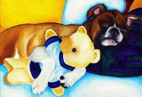 13x19 BOXER & TEDDY BEAR Signed Dog Art PRINT of Original Oil Painting by VERN
