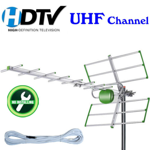 Outdoor Digital TV Antenna Aerial  Amplifier Gain Booster UHF VHF FM Tools Free