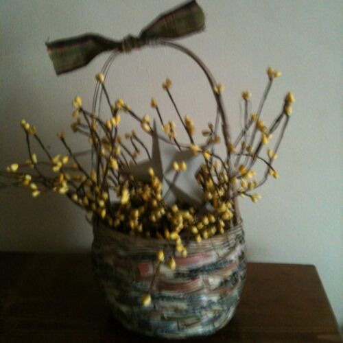 Primitive Basket With Yellow Spring Pip Berries And White Barn Star