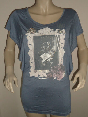 NEW LADIES BLUE/GREY ROCK & REVIVAL BUTTERFLY SLEEVE PANEL TOP SIZES 10,12 & 14