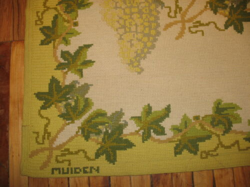 Antique Handmade Signed MUIDEN White Grapes Portuguese Needlepoint Rug Size 6'x8
