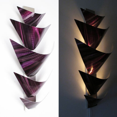 Metal Wall Art Torchiere Lamp Sculpture Home Decor Purple Modern Abstract LED