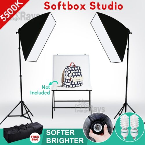 2X135W Photography Studio Continuous Lighting Softbox Soft Box Light Stand Kit <br/> 1350W Equiv.⭐NEWLY 2020⭐TOP SELLING⭐EASY BOX⭐Carry Bag