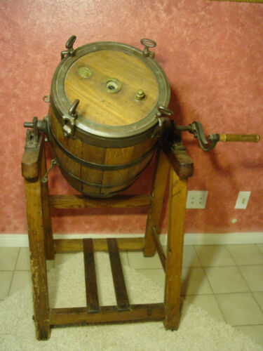 Butter Churn Wood Barrel Metal Hand Crank Country Farm Vintage Antique Solid Oak