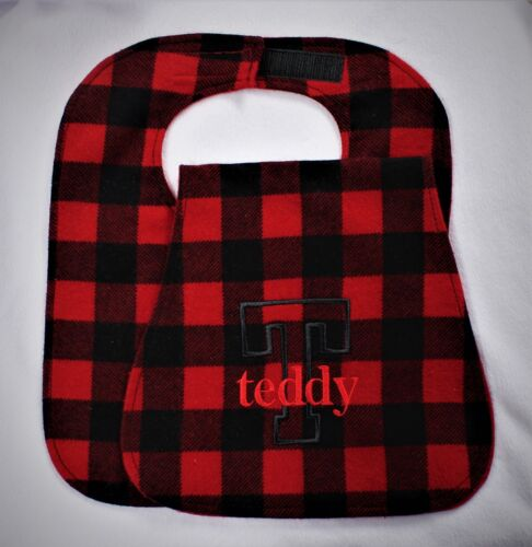 Handmade Personalized Bib/Burp Cloth Set You Pick the Color Name and Initial
