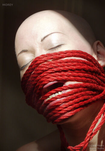 Kumi 4661 Woman in Rope Mask Hand-Signed Fine Art Photo Portrait by Craig Morey