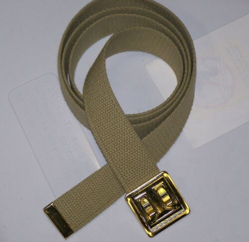 BELT NEW TAN CANVAS WEB MILITARY ARMY MARINE ALLOY BRASS FINISH BUCKLE M1 w P38Reproductions - 156470