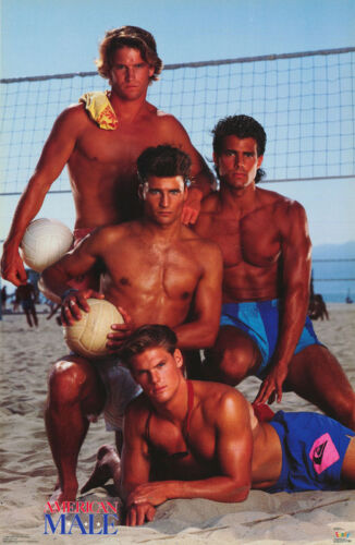 POSTER:AMERICAN MALE - VOLLEYBALL - 6 SEXY MALE MODELS-FREE SHIP   #3205 LC31 F