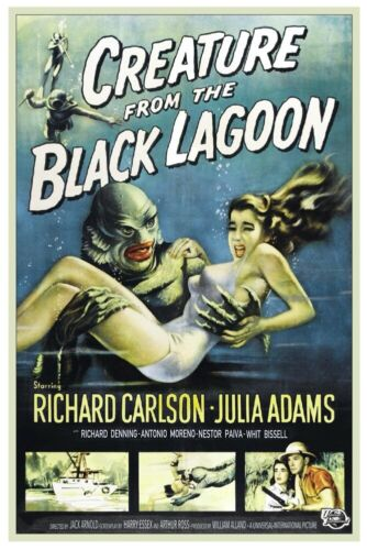 """VINTAGE - THE CREATURE FROM THE BLACK LAGOON MOVIE POSTER 12"""" X 18"""""""