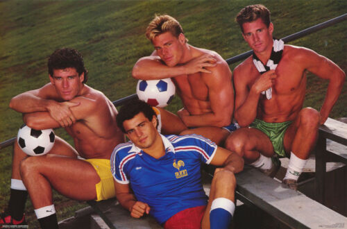 POSTER : SOCCER - 4  SEXY MALE MODELS WITH SOCCER BALL - FREE SHIP #180   RC47 E