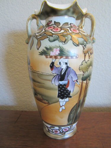 "ART NOVEAU MADE IN NIPPON HAND PAINTED 12.5"" VASE 1891 - 1921, Japanese Peasant"