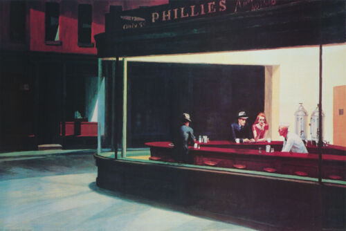 POSTER :ART: MAN & A COUPLE IN DINER by HOPPER - FREE SHIPPING !! #NH102  RC53 O