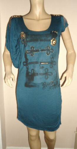 NEW LADIES TEAL ASYMMETRIC SLEEVE TUNIC/DRESS BY ROCK & REVIVAL SIZES 14 16 18