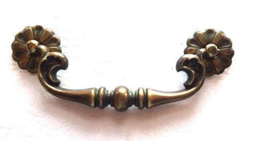 "MCM French Provincial Brass Bronze Antique Hardware Vintage Drawer Pull 5""center"